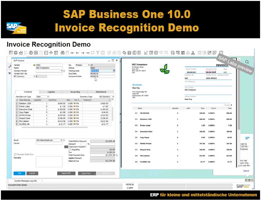 SAP Business One Rechnungserfassung Demo