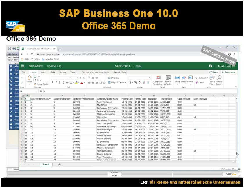 SAP Business One 10 Office 365 Demo